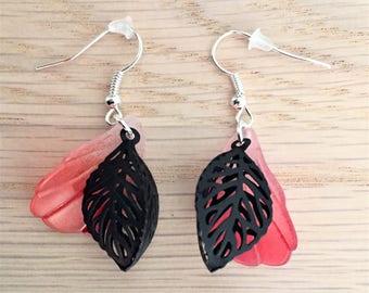 Leaf print 3 D and frosted leaf earrings