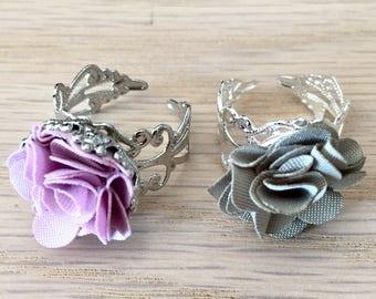Purple rose fabric cabochon ring