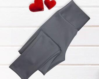 Grey thick fabric yoga leggings, yoga pants, workout leggings,  leggings yoga, charcoal grey, gift for her