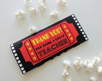 Thank You Teacher Movie Ticket Printable Envelope