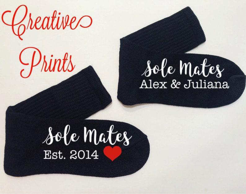 Valentine anniversary sole mate socks gift personalized socks gift free organza gift bag