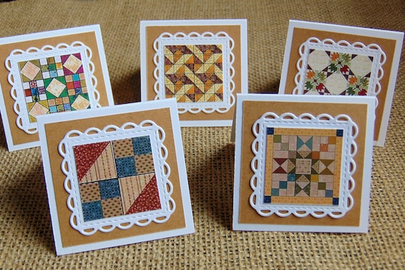 Rustic Gift Tags Quilt Pattern Mini Note Cards Gifts for Quilters