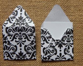 Mini Black and White Envelopes, Damask Pattern Envelopes,  Gift Enclosures, Gift Tags, Blessing Jar Envelopes, Scrapbook Envelopes