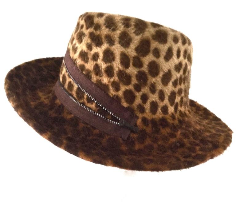 e01e1e2be1 Leopard Print Big Brim Hat, fur felt, animal print hat, cool headwear,  great gift for men or women, 100% rabbit fur felt