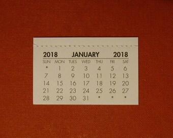 2018 mini Calendar tab (use to make your own calendar)- FREE postage UK