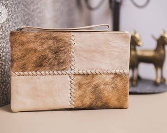 Clutch Bag with wristlet, Leather Clutch, Cow Hide Clutch, Genuine Leather