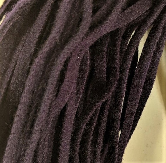 Wool Strips Eggplant  Dorr Mill Wool Strips for Rug Hooking Number 6 Blade Cut Felted 100 Strips 18 Inches Long