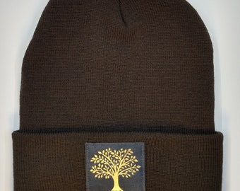MADE TO ORDER Beanie with Tree of Life Tree Beanie Mens Hat Guys HatTree Hat Womens Hat Hippie Hat Gypsy Hat Sage Green and Cream