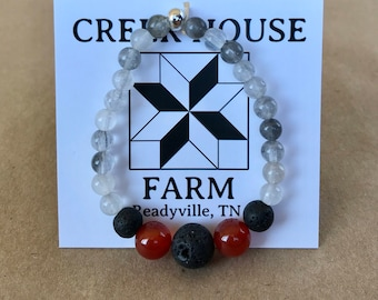 FOCUS natural stone diffuser bracelet with red agate, quartz, and lava beads 1ml. Essential oil