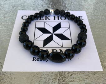 SPACE natural stone diffuser bracelet black onyx and lava beads with 1ml. Essential oil