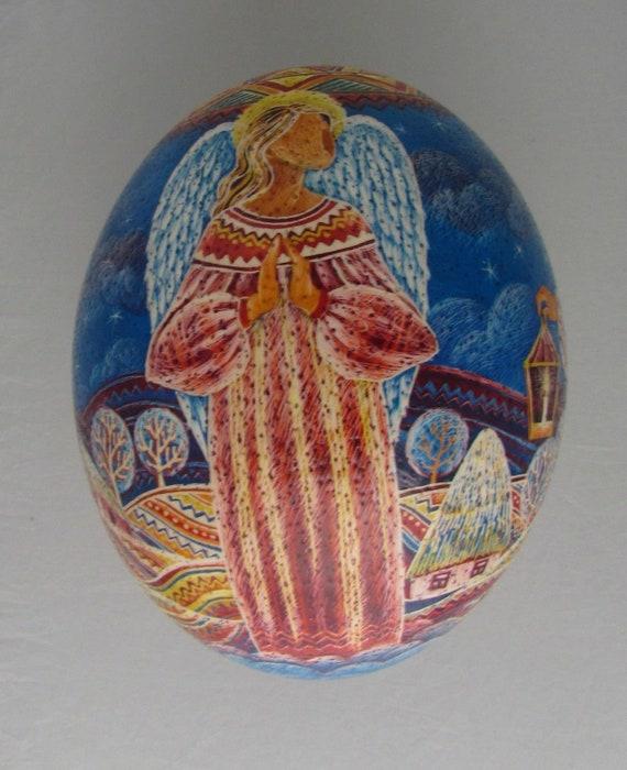 Girl with Bell Easter Scene Wax Resist Dye /& Scratch Technique Pysanka Ostrich Shell Easter Egg Art