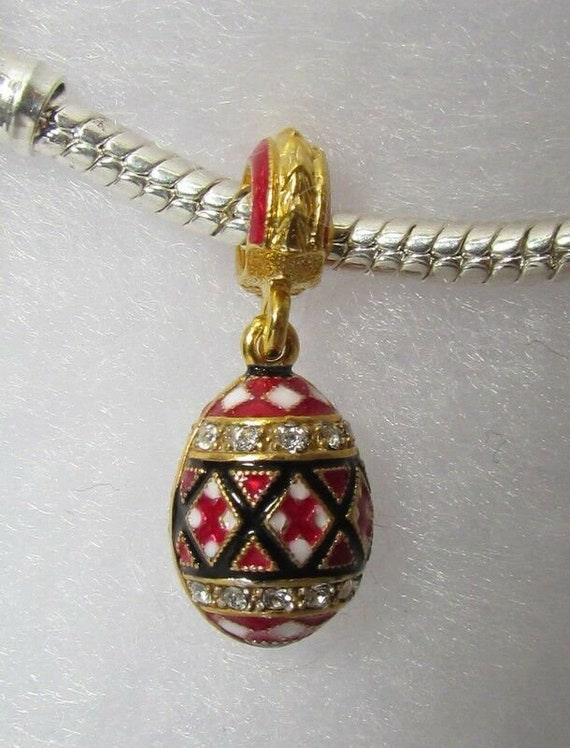 Pysanka Ukrainian Sliding Egg Red Embroidery Enamel Jewelry Bracelet Charm