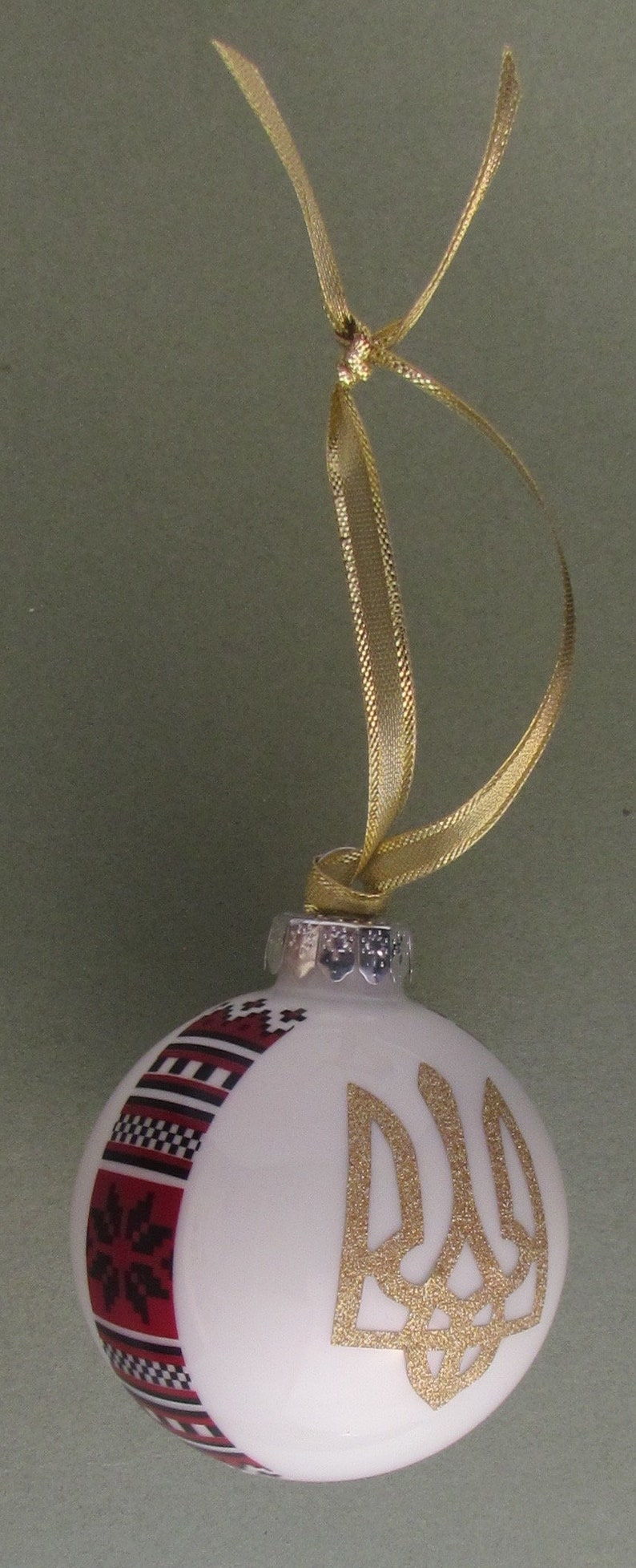 2.5 Ukrainian Glass Xmas Ball Ornament with Trident /& Embroidery Patterns