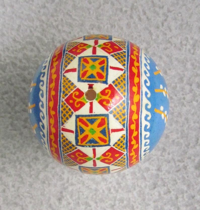 Wax Resist Dyed Style #M85 Easter Egg Written on Hen Shell Ukrainian Pysanky