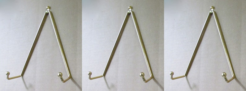 Set of 3 Brass Plate Hanger Displays Plates on Wall Size 8 to 11 in diameter