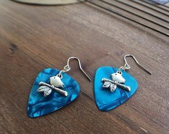 Guitar String Guitar Pick Earrings Blue Aqua Bird Charm