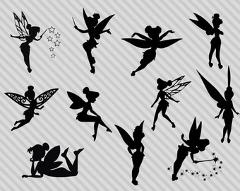 Disneys Tinkerbell Svg Cut Files Silhouette Clipart Fairy Dxf Png Printable
