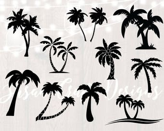 Palm tree silhouette svg bundle, palm tree clipart,dxf,png