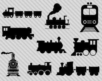 Train svg bundle, train clipart, train svg cutting file, trains svg, train silhouette, png, dxf