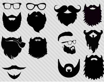 Beard svg bundle,hipster svg bundle, beard clipart, beard silhouette svg,png,dxf