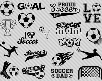 Soccer svg bundle, soccer silhouette svg, soccer clipart, dxf,png