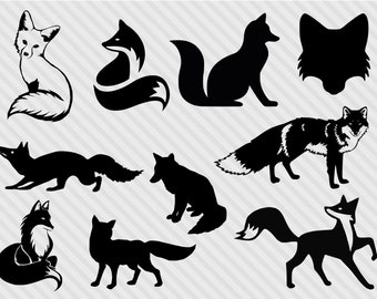 Fox svg bundle, fox clipart, fox silhouette svg, fox dxf, cut files for cricut and silhouette