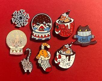 Needle Minders, Fridge Magnets: Christmas, Snowflake, Christmas Globes, Christmas Chill Cat, Stocking Cat, Hot Chocolate