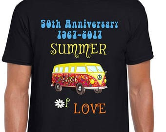 e1bb32877d34 50th Anniversary Summer of Love Hippie Peace Van Short-Sleeve Unisex T-Shirt
