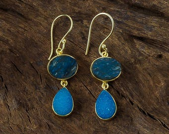 Druzy Earrings/Raw Stone Gold Earrings/Labradorite/Aqua Druzy/Blue Earrings/Dangle Earrings/Boho/Statement Earrings/Handmade/Gift for Her