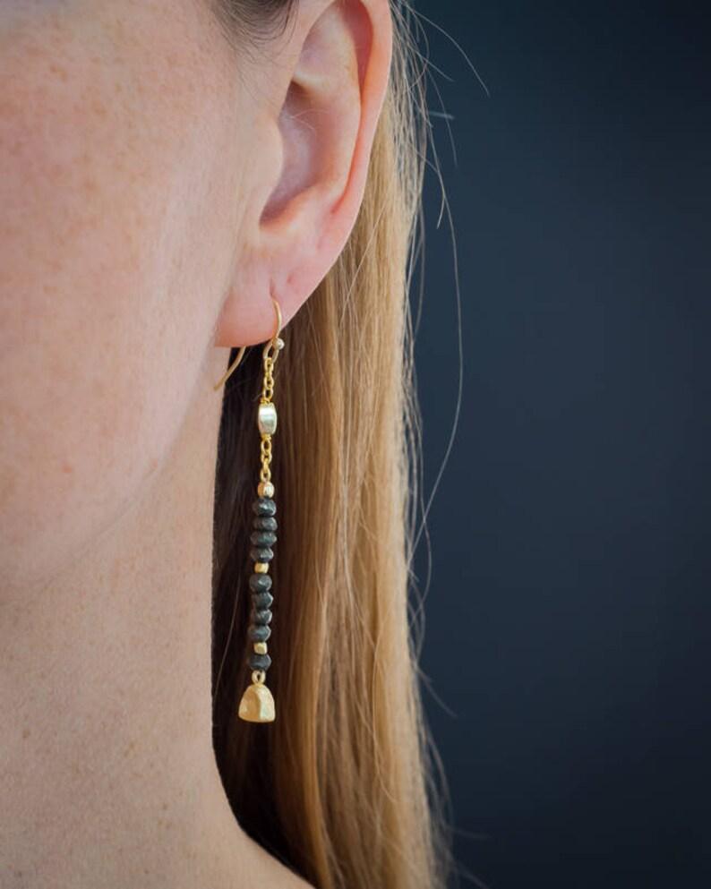 Pyrite Gold EarringsDangle EarringsDainty EarringsBeaded JewelryMinimal EarringsLong EarringsBoho ChicHandmade JewelryGift for Her