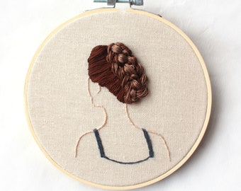 embroidered girl with hoop, embroidery art, hoop art, girl embroidery, Hair embroidery, handmade embroidery, embroidery hoop art, wall decor