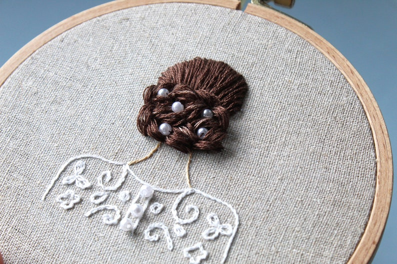 Wedding Gift embroidered girl with updo Hair study Handmade embroidery Hair embroidery online course for biginners hoop art