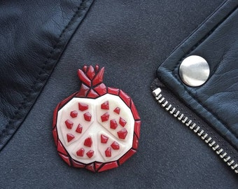 polymer clay pomegranate brooch, polymer clay brooch, pomegranate, brooch, geometric, accessories, jewelry, jewelry pomegranate, trend