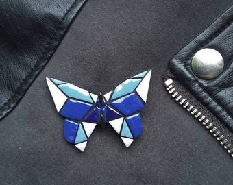 polymer clay butterfly brooch, polymer clay, brooch butterfly, butterfly, brooch, geometric butterfly, geometric, accessories, jewelry
