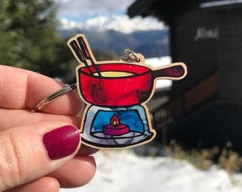 Cheese Fondue Pot key-chain, Fondue Key-ring, Gift for Cheese Lover, Swiss Cheese, Secret Santa Gift, Apres Ski Fondue, Cheesy Gifts
