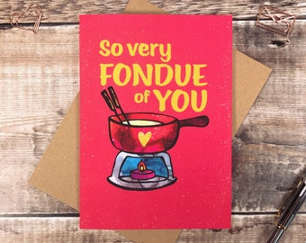 Cheese lover Card, Friendship Card, Fond of you Card, Miss you Card, Cheesy Valentines Card, Swiss fondue, Anniversary Card, lockdown card