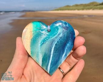 Personalised Card & Heart Decoration, Ocean lover birthday Card, Beach Decor, Ocean Ornaments, Seaside Decoration, Christmas Beach Ornament