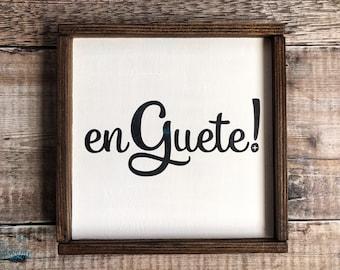 En Guete! Wooden Plaque, Swiss Souvenir, Swiss Greeting, Rustic Chalet chic Decor