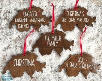 Personalised Switzerland Shaped Hanging Ornament, Swiss German Gift, Swiss Expat, Leaving gift, Swiss Christmas Decoration