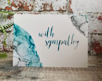 With Sympathy Card, Condolences Card, RIP Card, Sympathy Card Pack, Blue and Grey ink paintings, Grief Card, Mourning Card, Bereavement Card