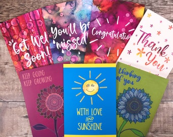 Pack of 7 Uplifting Cards, Encouragement for friend, thinking of you cards, Set of Cards,