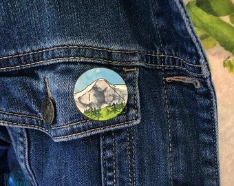 Mountain Wooden Pin Badge, Eiger Swiss Alps, Wilderness Explorer Pin, Gift for hiker, Gift for him, Mountain Lover, Stocking Filler, Brooch