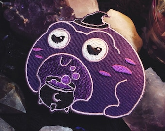 """Witch Frog - 3"""" Iron On Patch - Witchcraft Cauldron Toad Purple Moon"""