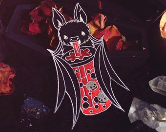 """Bat Boba Patch - 5"""" Iron On Embroidered Patch - Vampire Blood Bat Gothic Bubble Tea"""