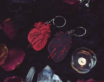 Bleeding Vampire Bite Heart Wooden Keychain - Black Or Red
