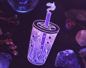 """Witch Boba - 5"""" Iron On Patch - Bubble Tea Crystal Pentacle Pentagram"""
