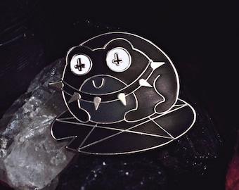 Goth Frog - Enamel Pin - Lapel Pin - Punk Black Metal Witch Pentagram Lily Pad Satan Inverted Cross Spike Choker Spooky