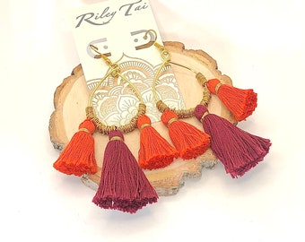 Virginia Tech GameDay Earrings-GameDay Tassel Earrings-Hokies Earrings-VT Earrings-Maroon and Orange-Fringe Earrings