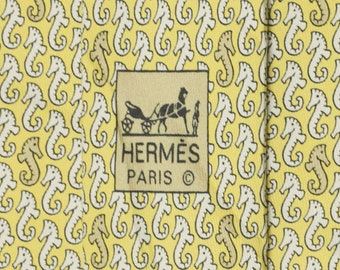 1d5632f7d3c2 HERMES TIE Auth Mens Silk Necktie Whimsical Seahorses Pattern 5031