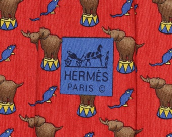 22d4a1f9b5fe HERMES TIE Auth Mens Silk Necktie Whimsical Elephant and Mouse Pattern 7681